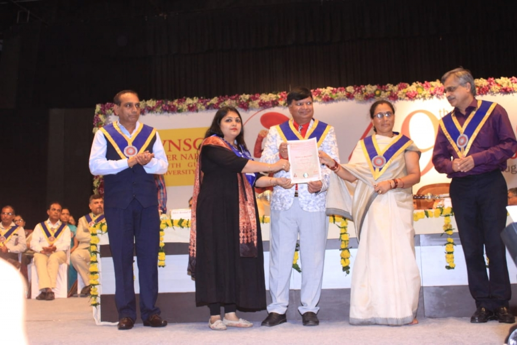 Dr. Hemangini Patel  Assistant Professor  BMBCA 49th special convocation Doctorate degree received from padmashree phoolbasan yadav n vice chancellor sir at VNSGU