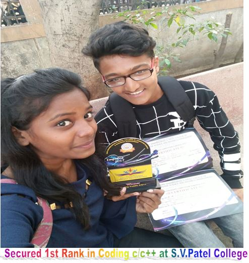 SECURED 1ST RANK IN CODDING C AND CPP AT S.V.P COLLEGE